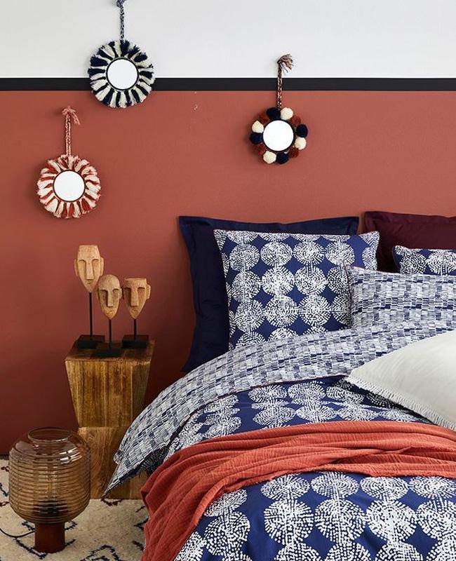 deco chambre bleu terracotta peinture