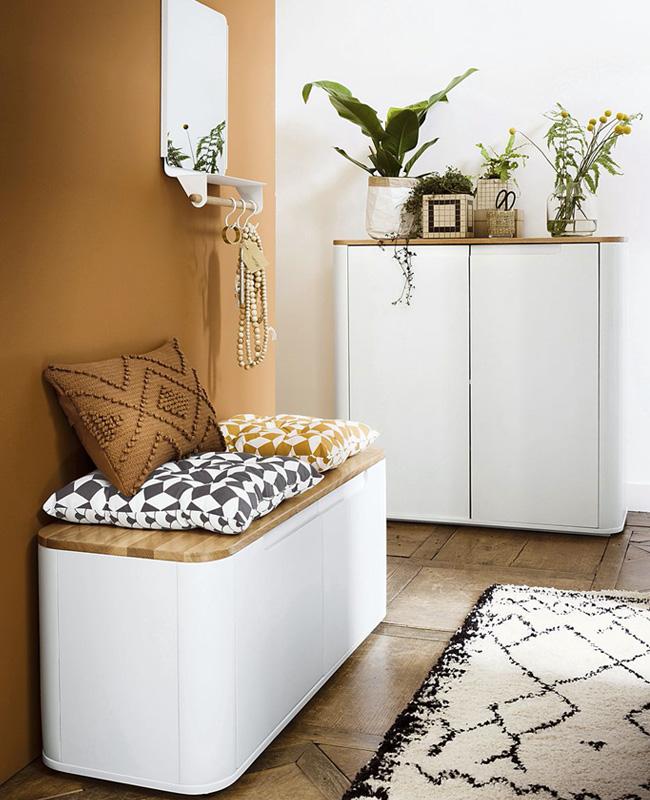 meuble chaussure blanc bois