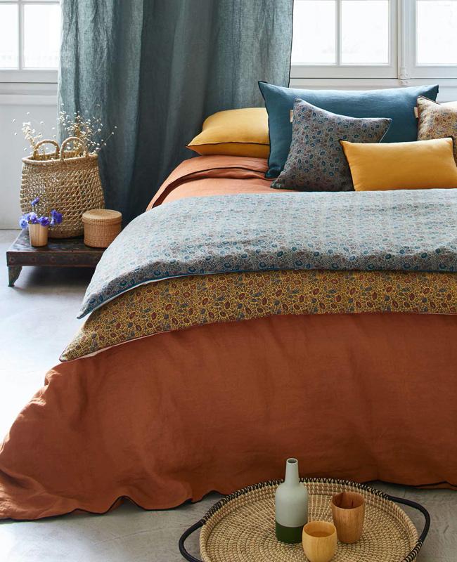 deco chambre lin bleu terracotta