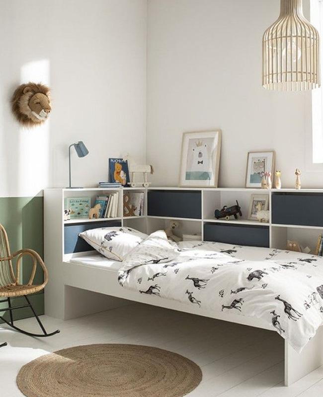 lit rangement enfant blanc bleu