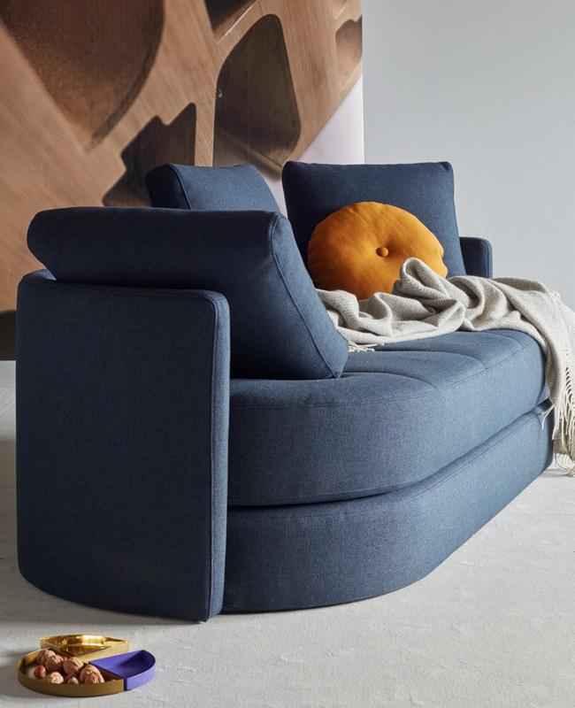canape arrondi bleu