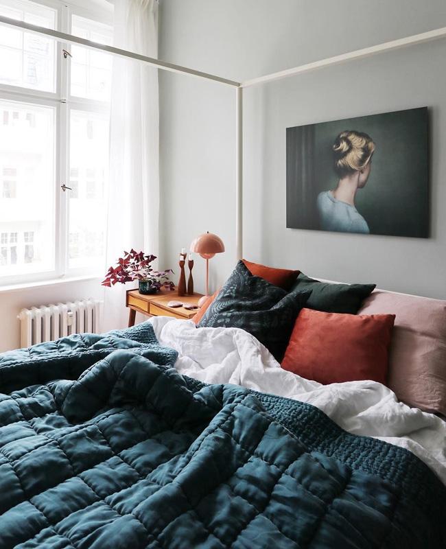 deco chambre bleu canard terracotta