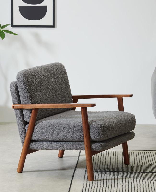 fauteuil bouclette vintage gris