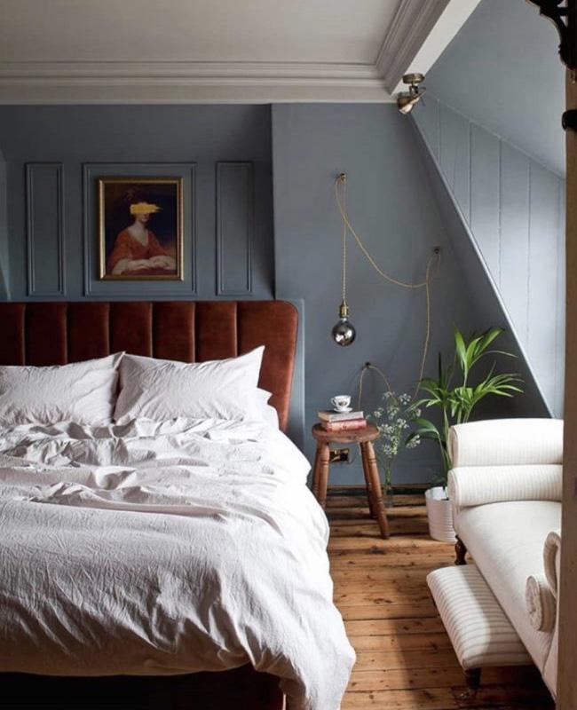deco chambre bleu gris velours terracotta