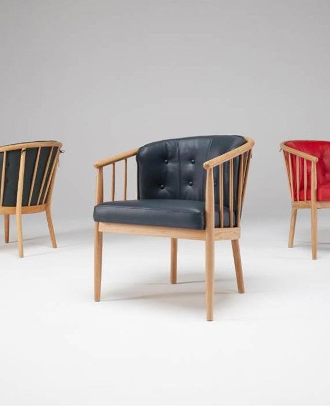 fauteuil scandinave bois cuir noir