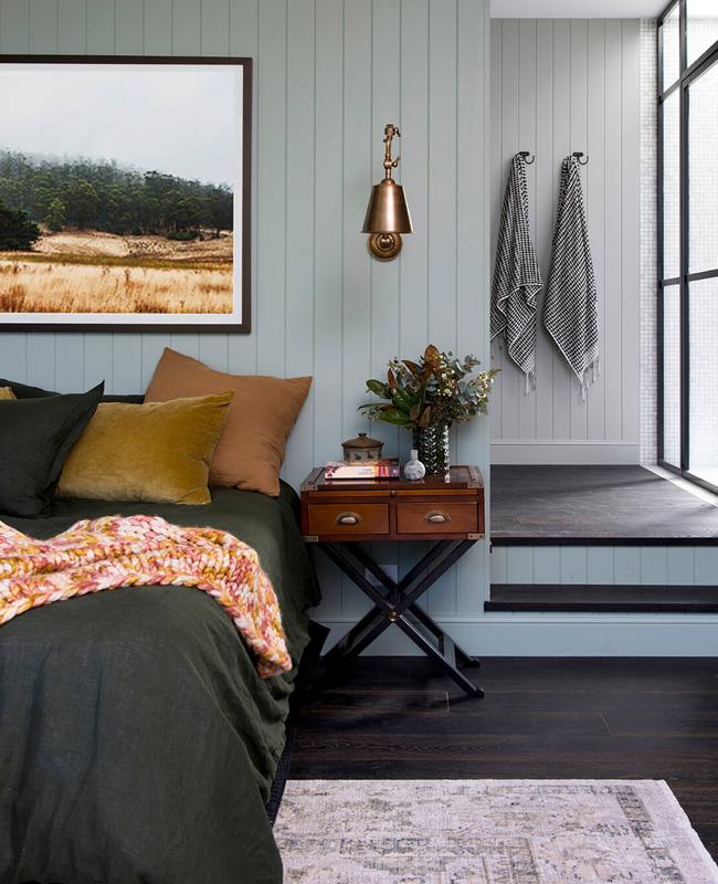 deco chambre linge de lit vert kaki