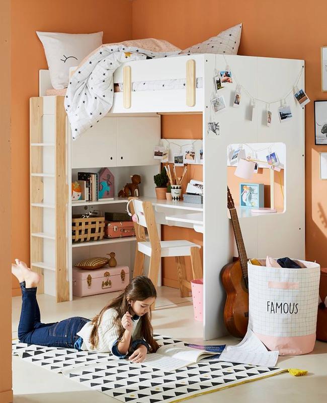 lit mezzanine bureau blanc bois