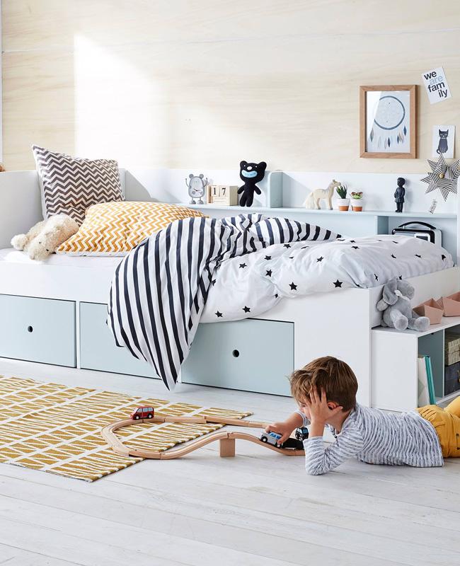 lit rangement enfant bleu blanc