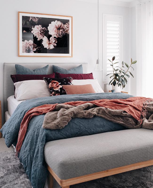 deco chambre bleu terracotta rose