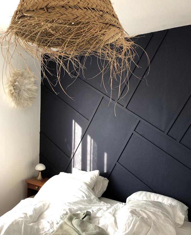 deco chambre mur tasseau bois noir