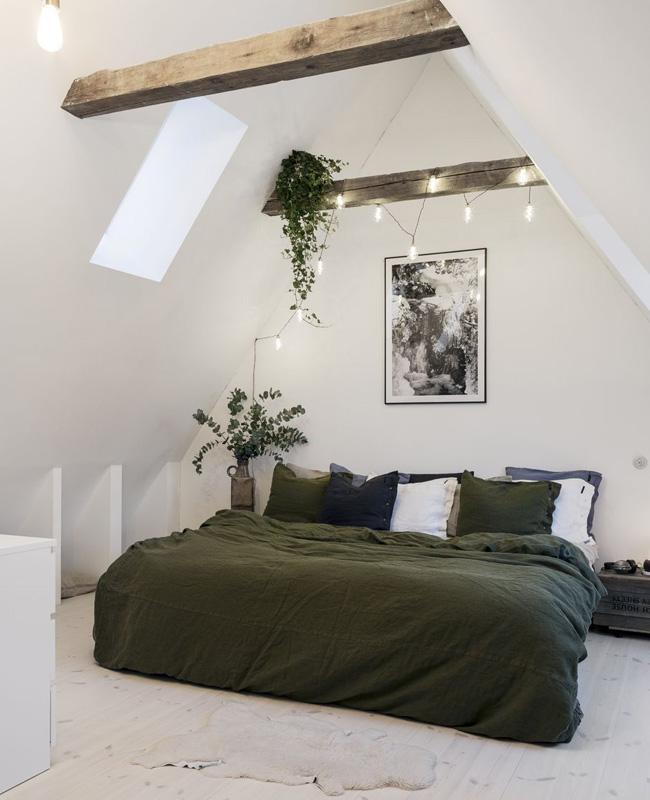 deco chambre vert linge de lit lin