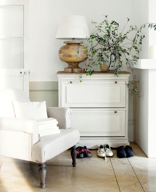 meuble chaussure campagne chic blanc