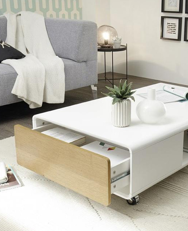 table basse blanc bois rangement