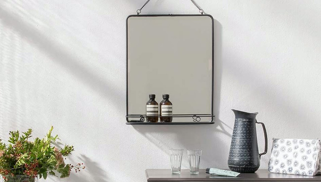 miroir barbier metal noir etagere
