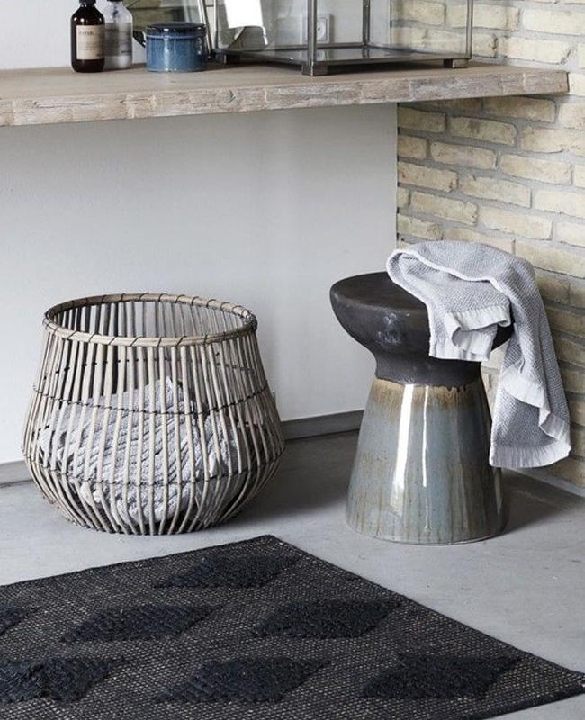 tabouret totem céramique gris