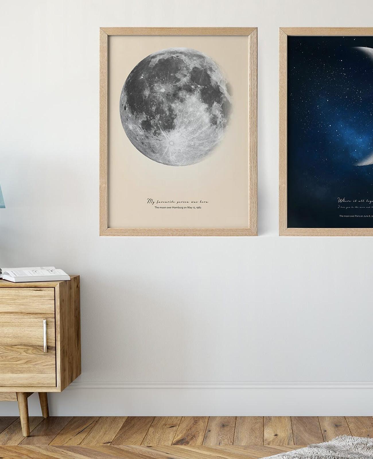 affiche lune personnalisée positive prints