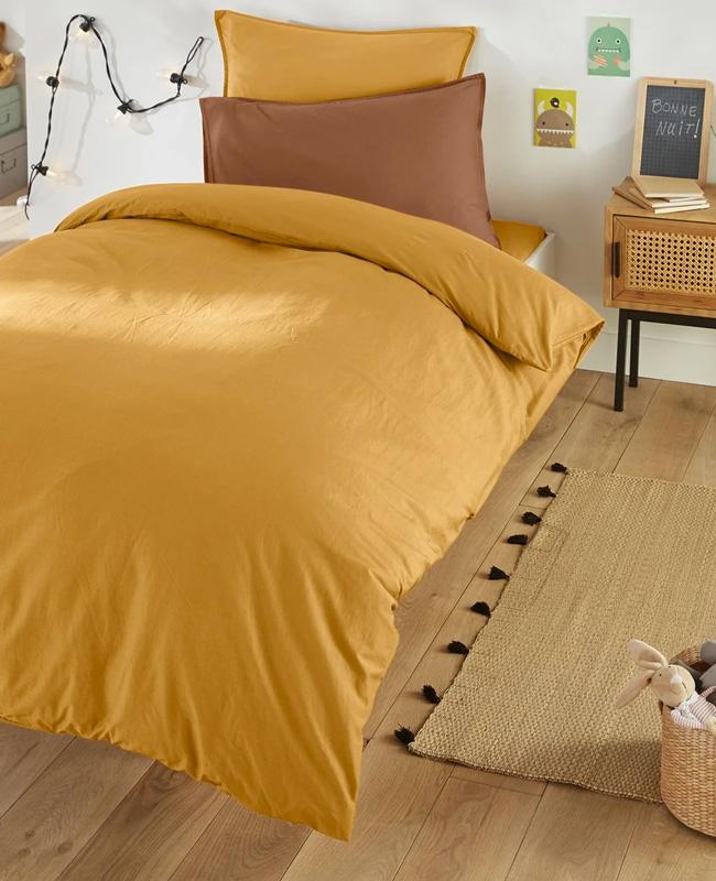 housse de couette coton lave jaune enfant