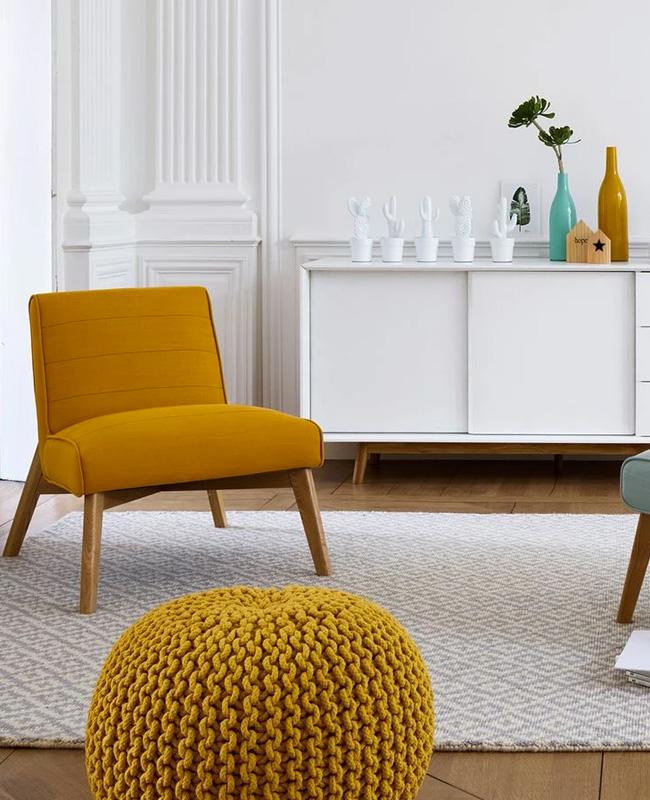 fauteuil scandinave jaune moutarde