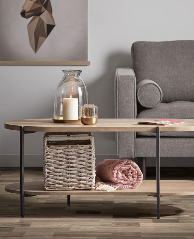 table basse ovale double plateau bois