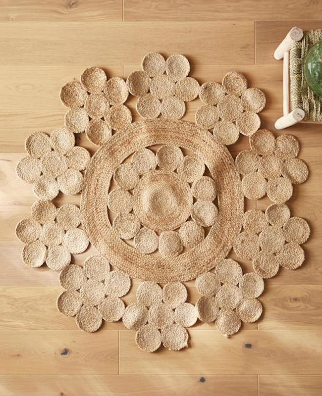 deco cyrillus tapis jute fleur