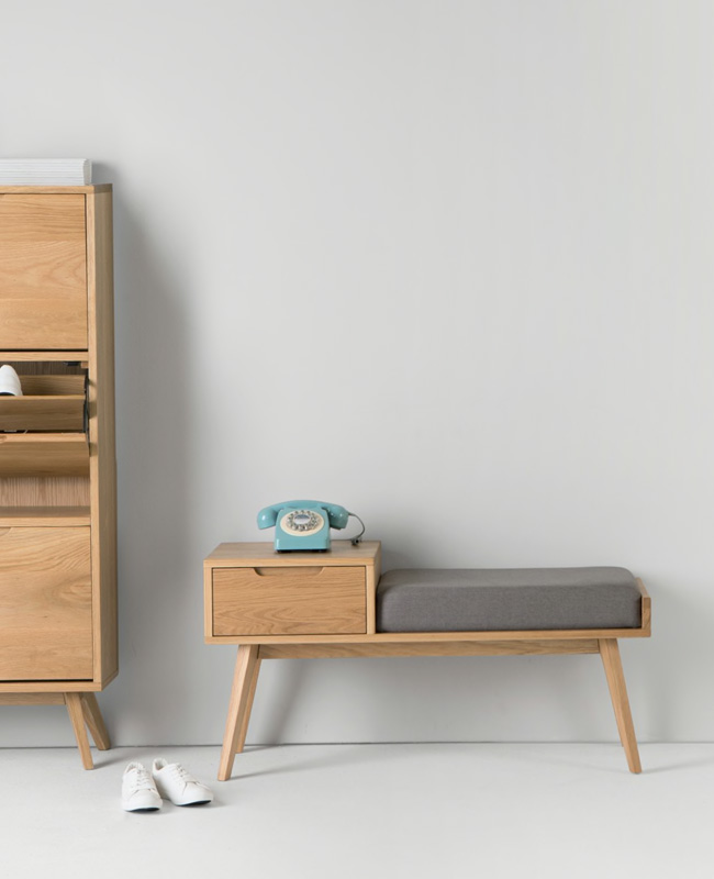 banc vintage tiroir rangement