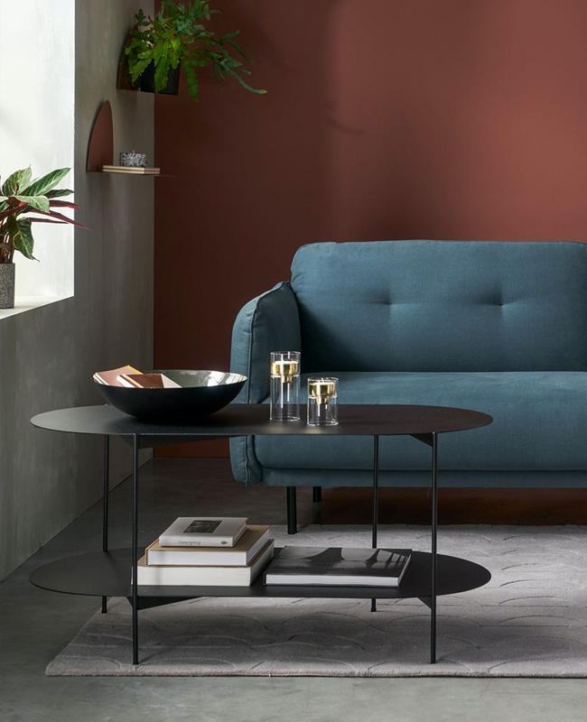 table basse ovale noir double plateau