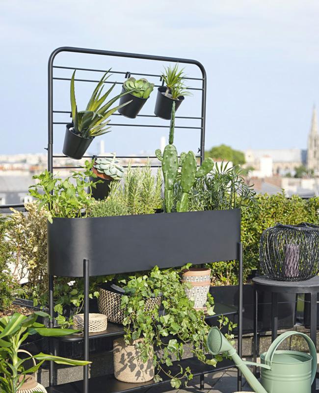 jardiniere sur pied metal etagere