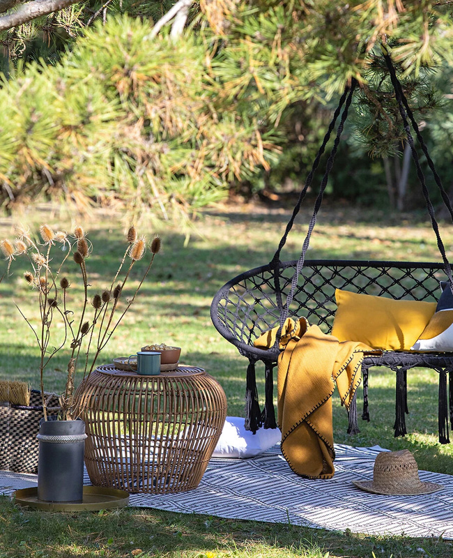 table basse jardin rotin