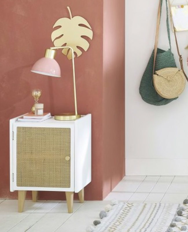 table chevet cannage blanche