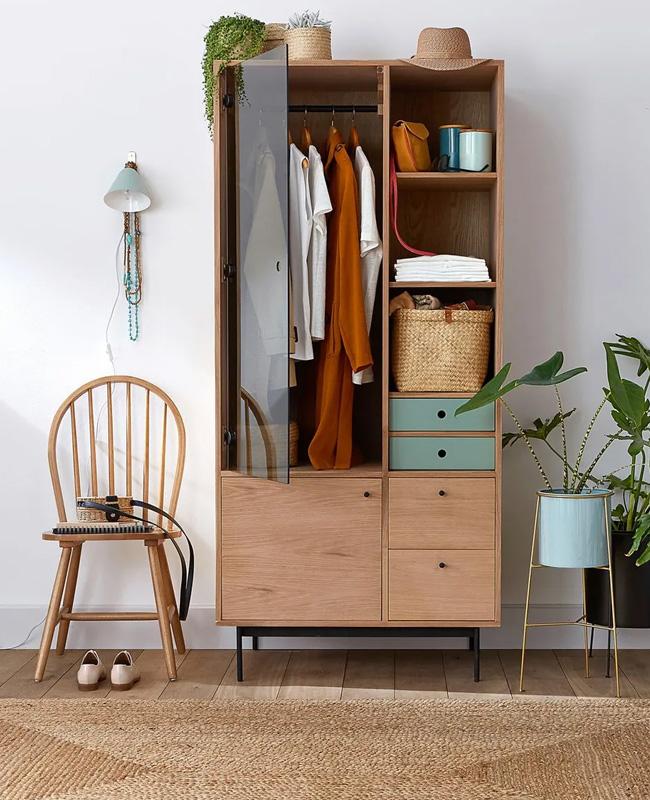 armoire penderie bois porte verre