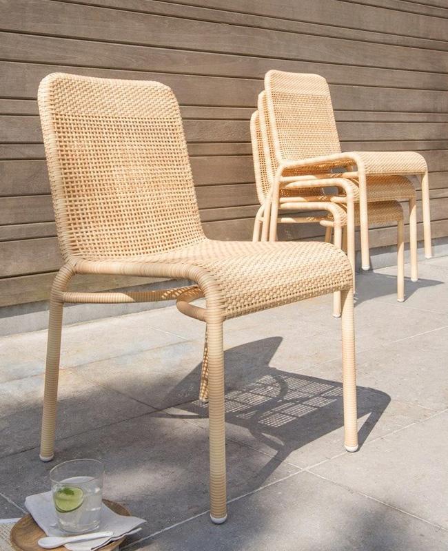 chaise jardin naturelle imitation rotin tresse