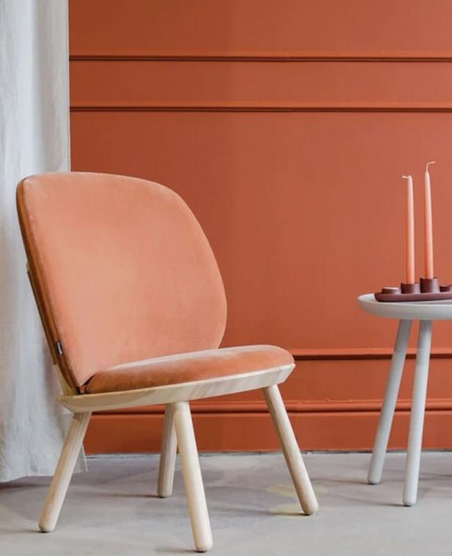 petit fauteuil terracotta bois