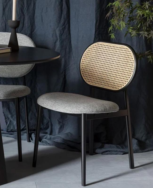 chaise cannage tissu gris