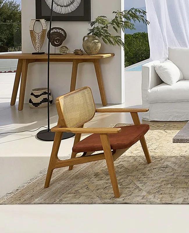 fauteuil terracotta cannage cuir