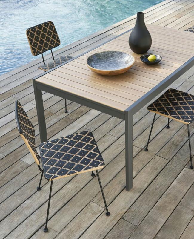 chaise jardin naturelle motif noir