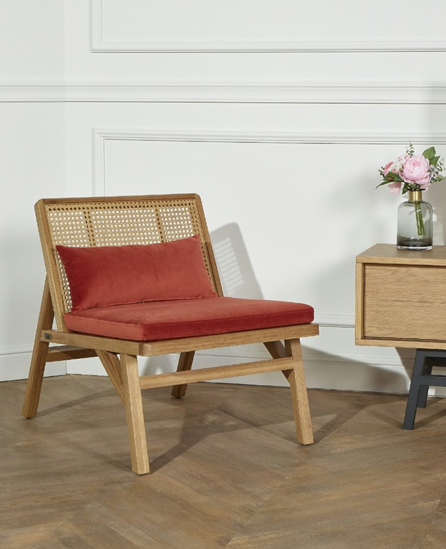 fauteuil terracotta cannage velours