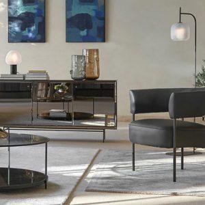 fauteuil metal cuir gris noir