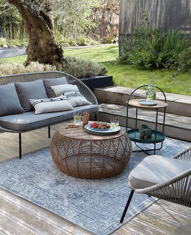 table basse jardin rotin ronde bois