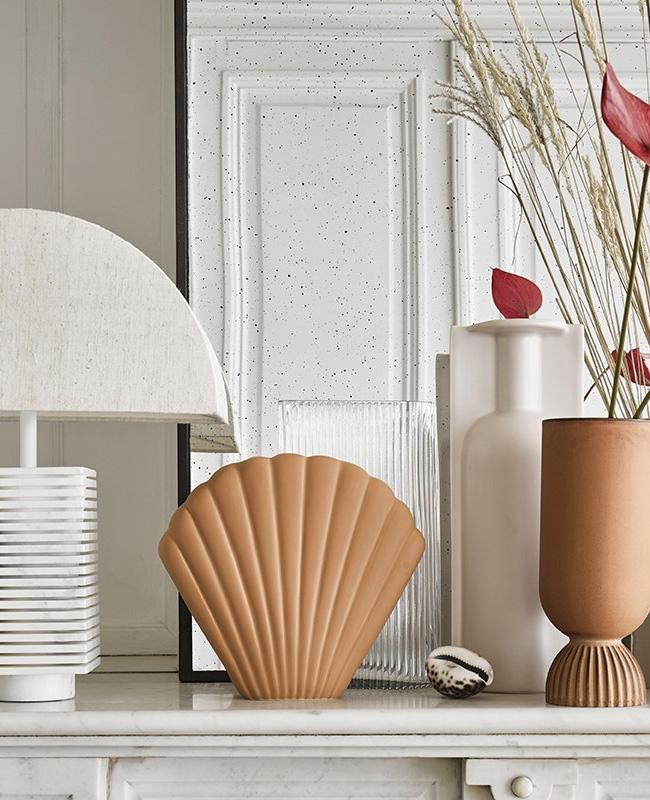 vase coquillage terracotta