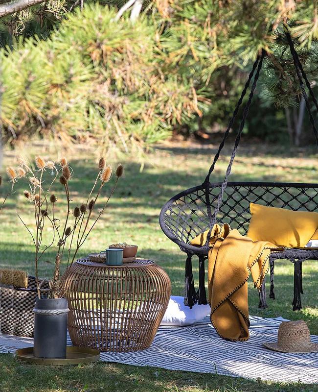 table basse jardin rotin ronde