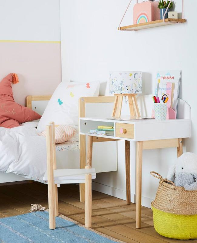 bureau maternelle blanc bois