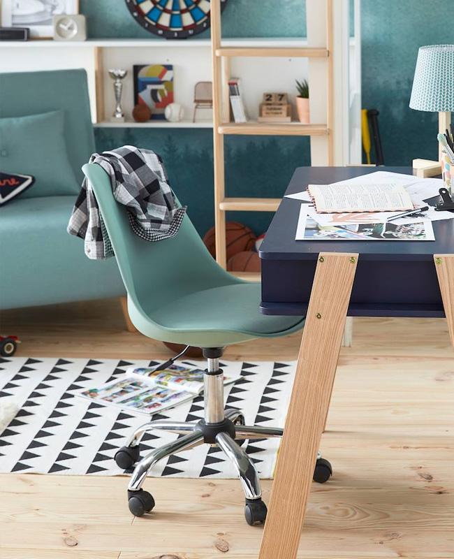 chaise bureau enfant vert roulette