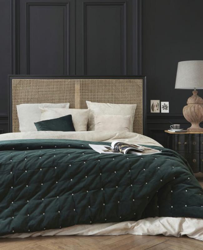 tete de lit cannage bois noir