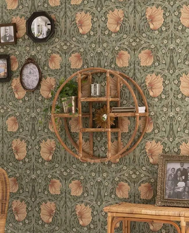 etagere murale ronde rotin
