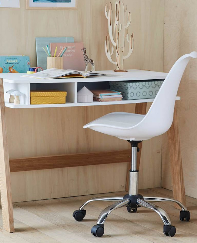 chaise bureau enfant blanche moderne