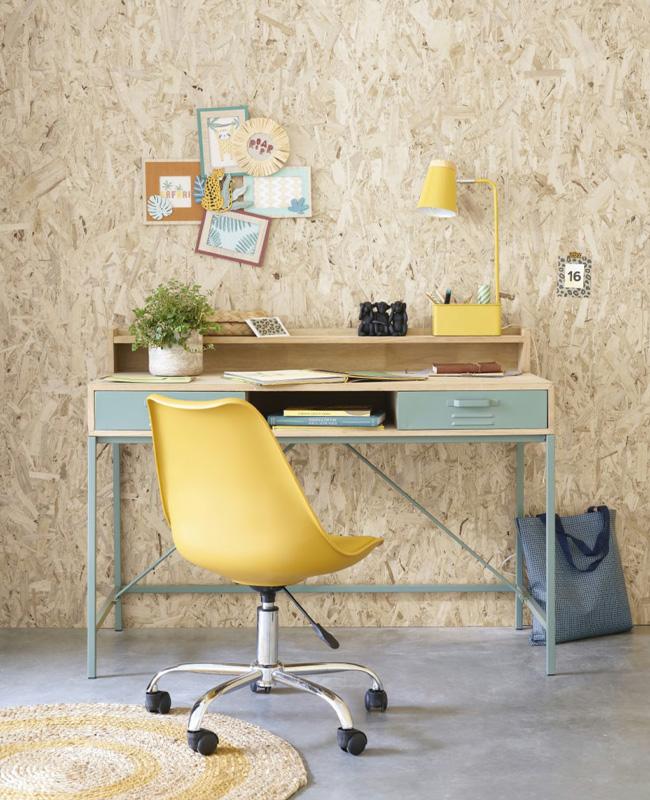 bureau enfant metal vert bois