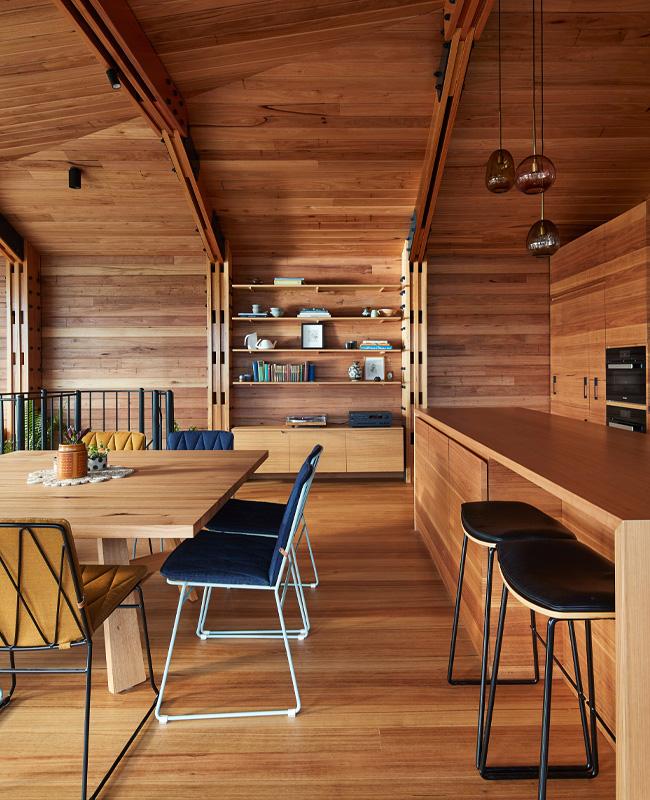 cuisine bois maison plage Australie