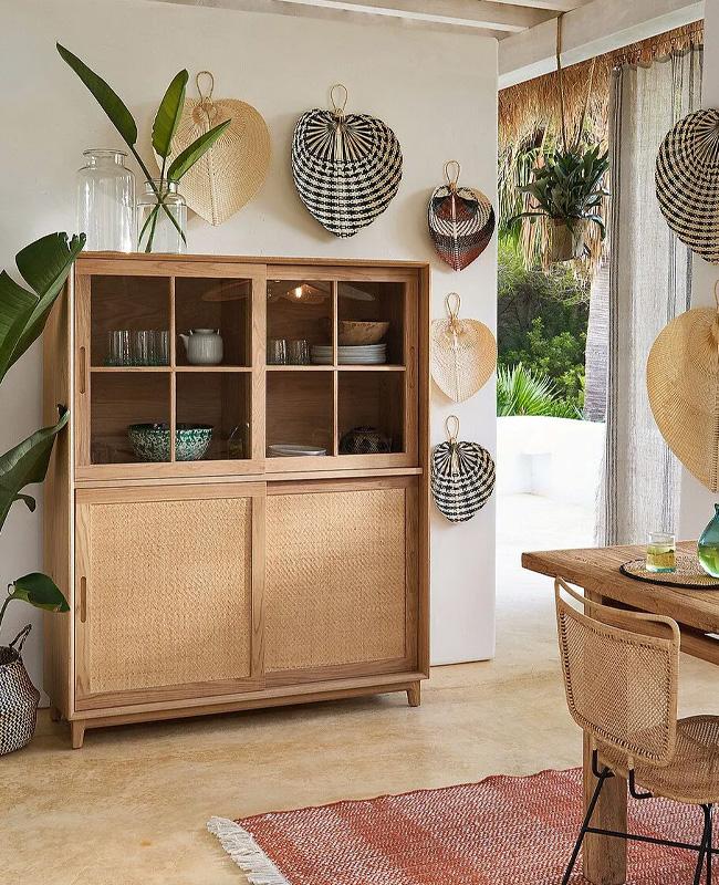 éventail mural bambou