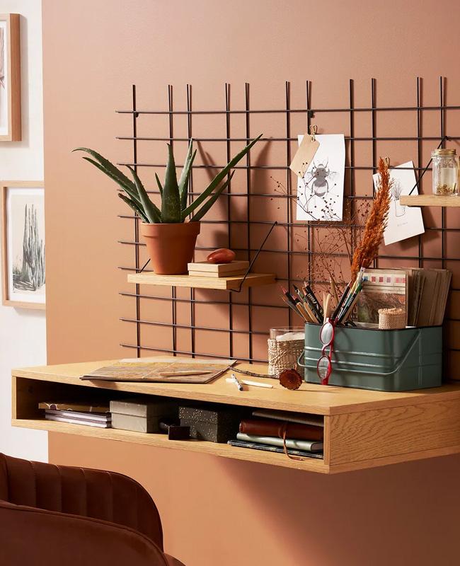 bureau ordinateur mural bois