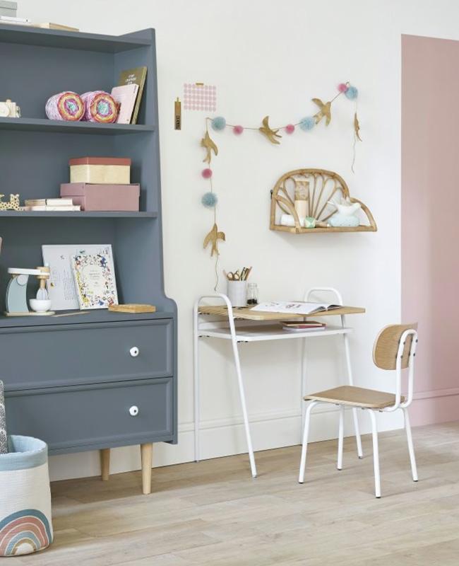 bureau enfant metal blanc bois vintage
